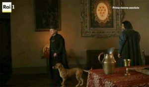 """""""I Medici"""" s01e02: la Sala degli Orsini con lo stemma Medici"""