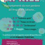 locandina con i programmi di aprile dei mercatini di Anguillara Sabazia