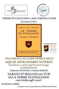 locandina della conferenza della Forum Clodii a Stigliano intitolata: Aquae Apollinares Veteres: termalismo e cultura dagli Etruschi a oggi