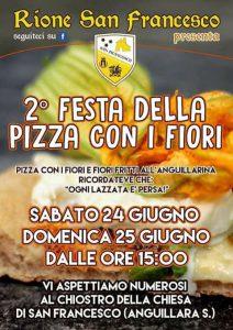 locandina della Festa della pizza con i fiori del rione San Francesca di Anguillara Sabazia