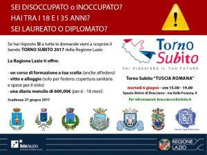infografica della call Bic Lazio Torno Subito Tuscia Romana