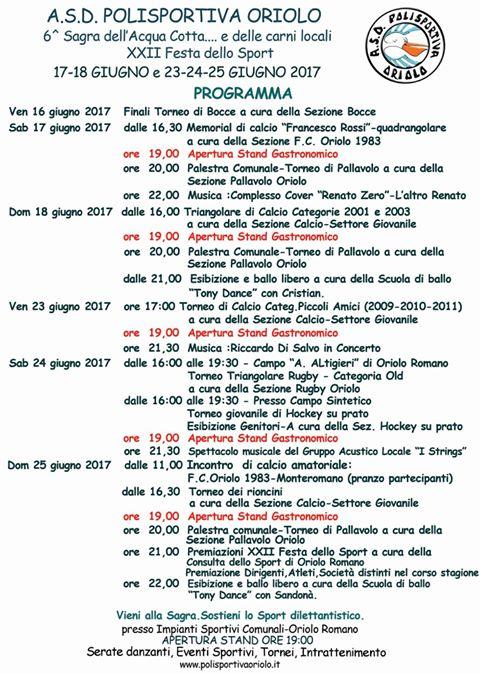 locandina della sagra dell'acquacotta e delle carni locali e festadello sport di Oriolo Romano