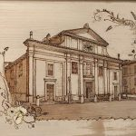 disegno della chiesa di Manziana