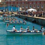 partenza delle imbarcazioni peril palio del saraceno a Civitavecchia