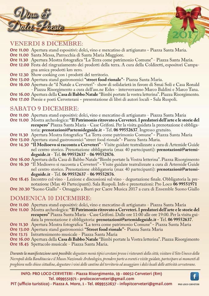 programma della manifestazione Vino e dolci poesie di Cerveteri