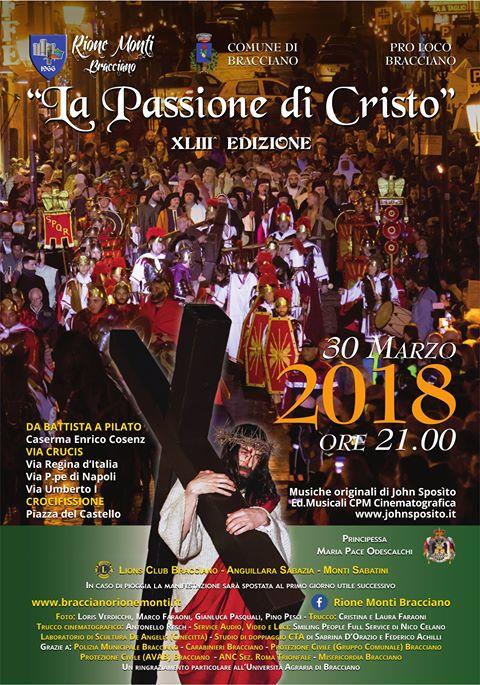 locandina della Passione di Cristo 2018 a Bracciano