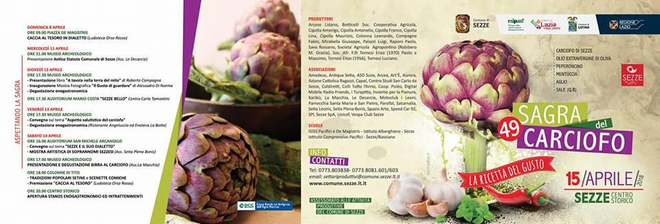 brochure della Sagra del carciofo 2018 Sezze