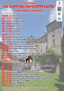 programma della festa di San Filippo Neri 2018 a Castel Giuliano