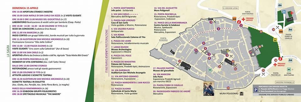 mappa della sagra del carciofo 2018 Sezze