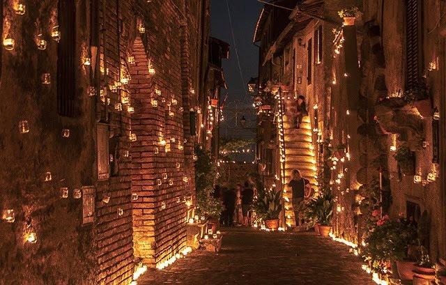 Notte delle candele nel giardino di Donna Olimpia Pamphilij
