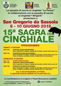 programma della sagra del cinghiale 2018 di San Gregorio da Sassola