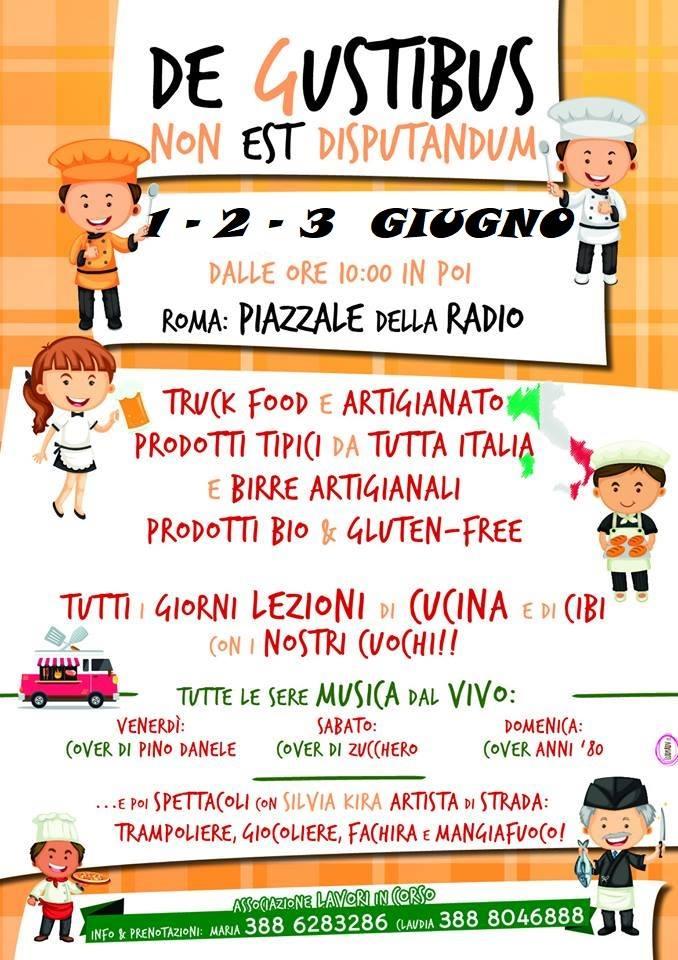 programma della manifestazione De gustibus non est disputandum 2018 a piazzale della Radio a Roma