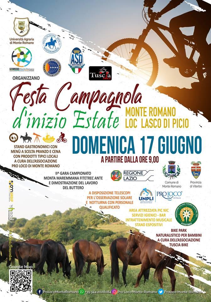 manifesto della festa campagnola di inizio estate 2018 a Monte Romano