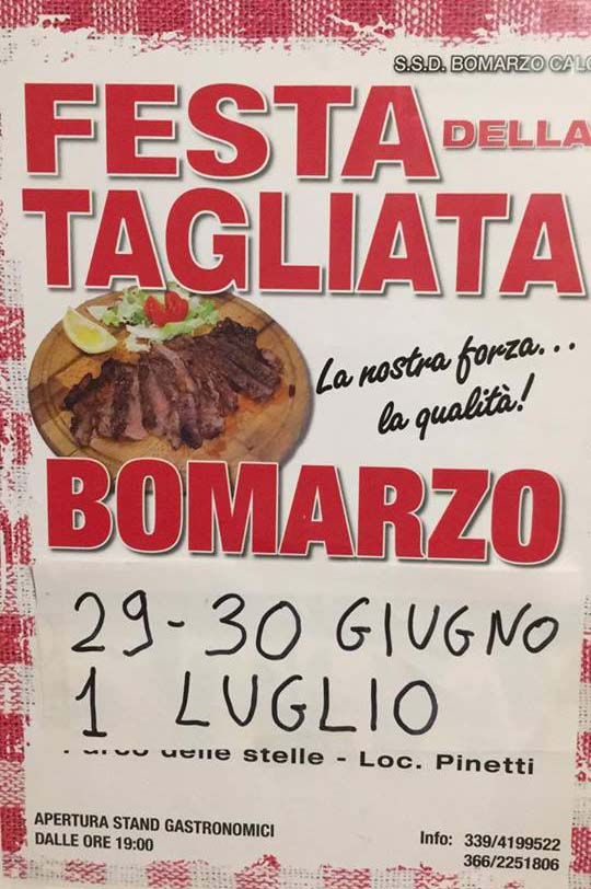 manifesto della Festa della tagliata a Bomarzo 2018