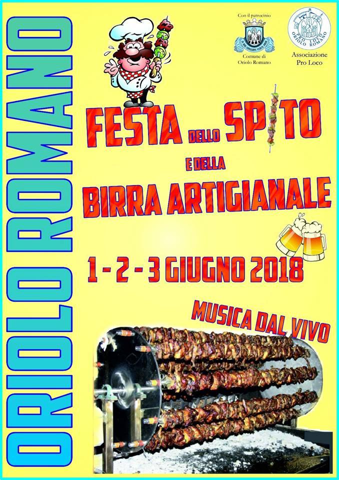 manifesto della sagra dello spito e della birra artigianale Oriolo Romano 2018