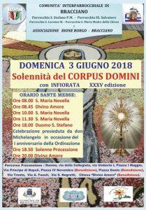 manifesto dell'infiorata del 3 giugno 2018 per il Corpus Domini a Bracciano