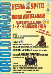 il programma della Festa dello Spito e della Birra 2018 di Oriolo Romano