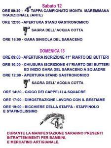 Programma del riarto dei butteri 2018 e della sagra dell'acquacotta a Canale Monterano