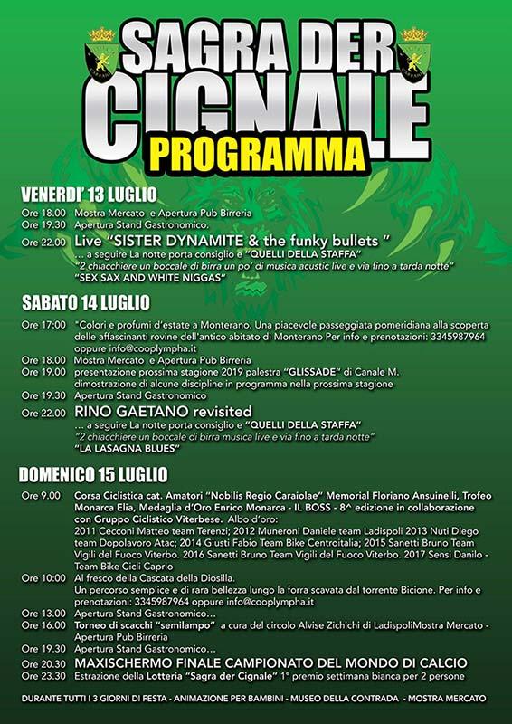 programma della sagra del cinghiale di Canale Monterano 2018