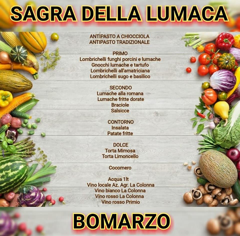 Il menù della sagra della lumaca Bomarzo 2018
