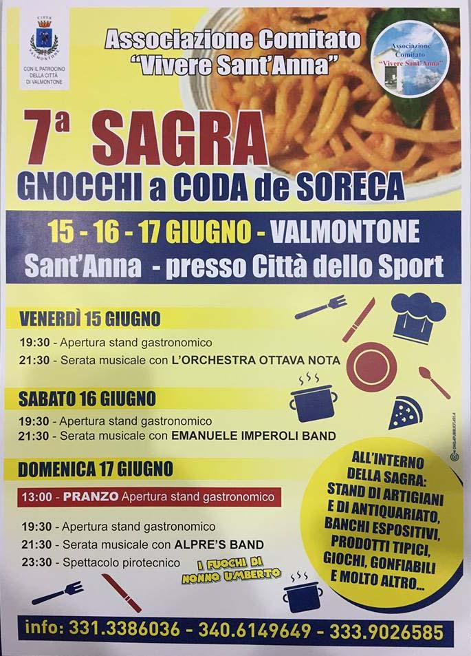 programma della sagra degli gnocchi a coda de soreca 2018 a Valmontone