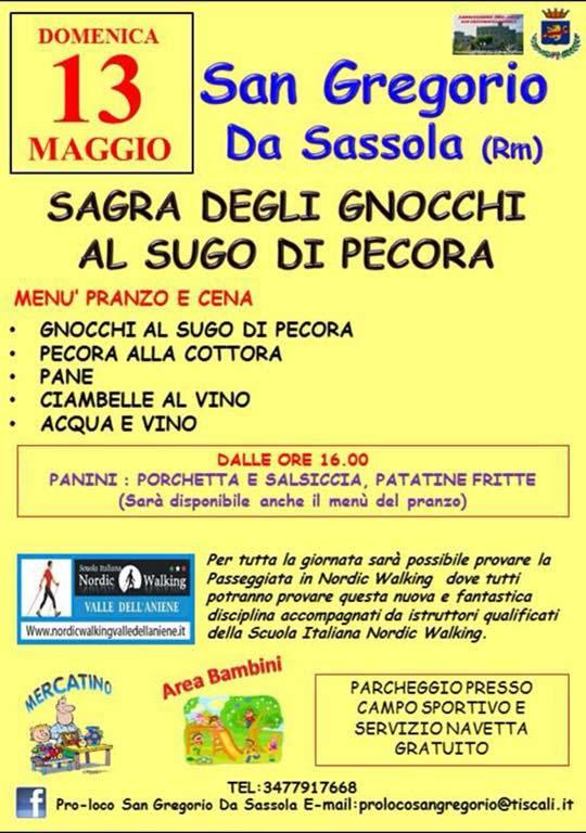 manifesto della Sagra degli gnocchi al sugo di pecora 2018 a San Gregorio da Sassola