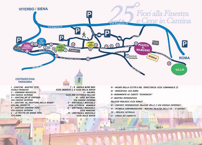 Mappa delle cantine aperte e dei luoghi di interesse della manifestazione 2018