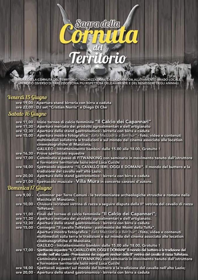 il programma della sagra della cornuta del territorio 2018 a Manziana