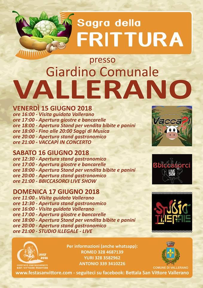 programma della sagra della frittura Vallerano 2018