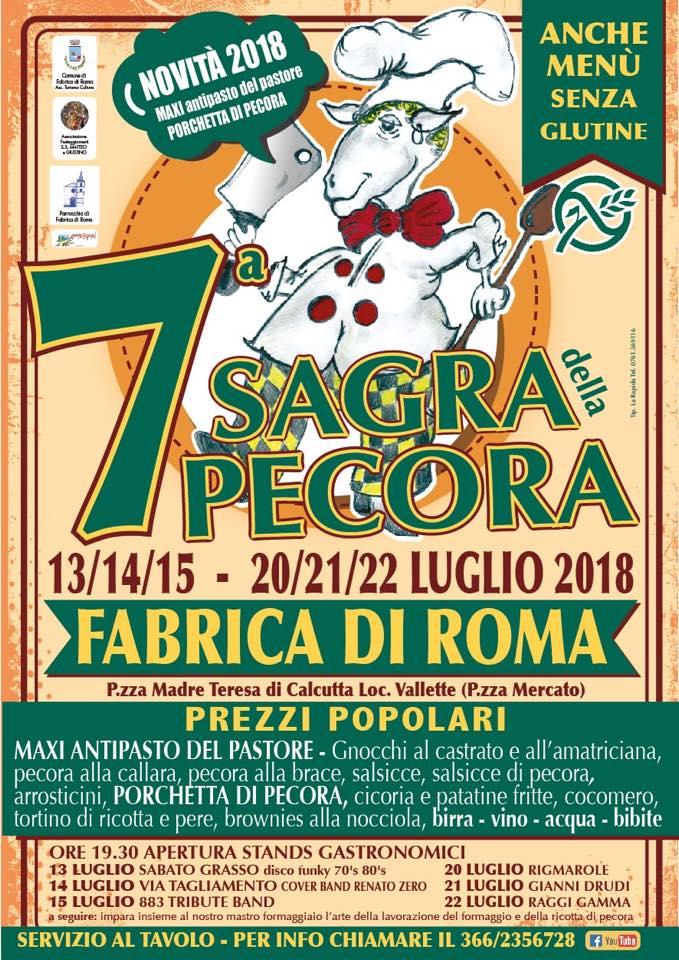 programma della sagra della pecora Fabrica di Roma 2018