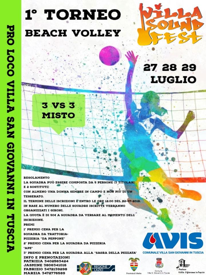 Torneo di beach volley 2018 a Villa San Giovanni in Tuscia