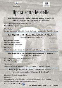 programma di Opera sotto le stelle castello di Bracciano 2018