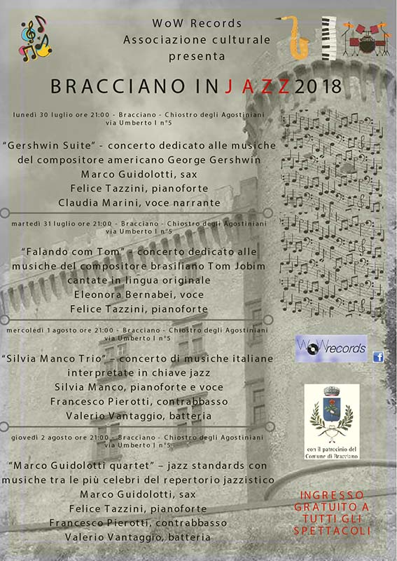 programma di Bracciano in Jazz 2018