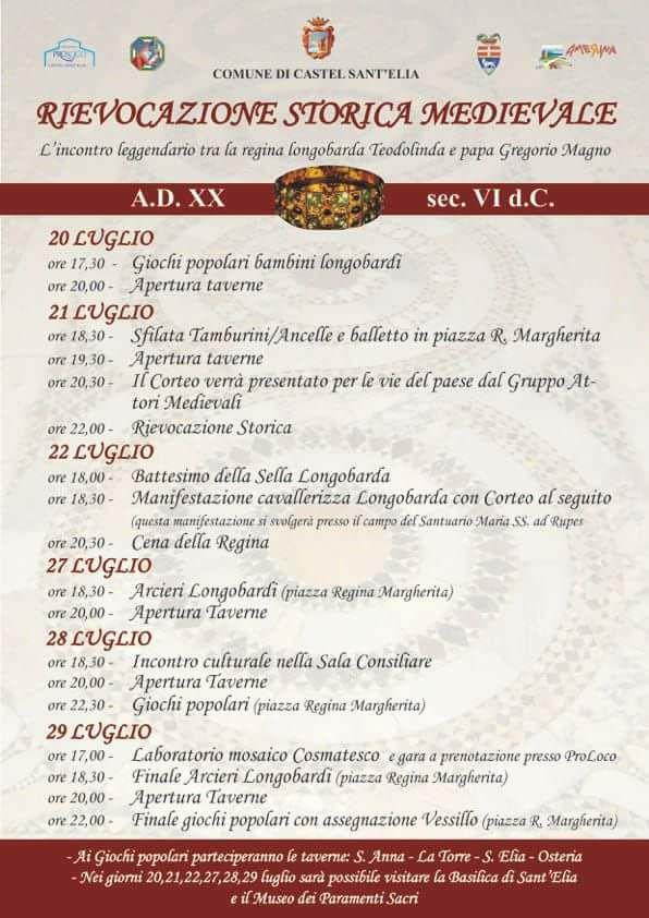 Programma della Festa medievale a Castel Sant'Elia 2018