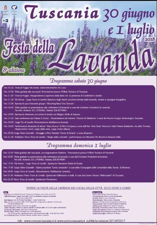programma della festa della lavanda 2018 di Tuscania
