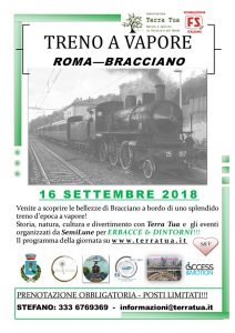 locomotiva a vapore da Roma a Bracciano per Erbacce e dintorni 2018