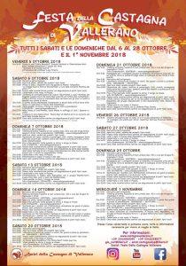 il programma della festa della castagna Vallerano 2018