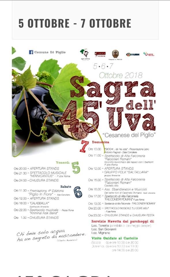 Sagra dell'Uva Cesanese del Piglio 2018