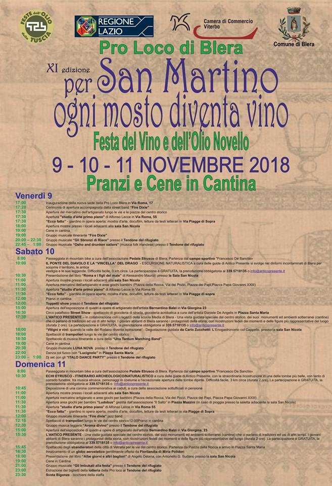 programma della festa dell'olio e del vino 2018 a Blera