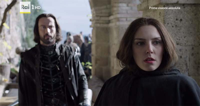 I Medici serie tv s01e04: Contessina incontra il generale Sforza nel set di Rota