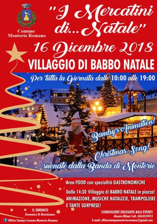 16 dicembre 2018 a Monte Romano per i mercatini di Natale