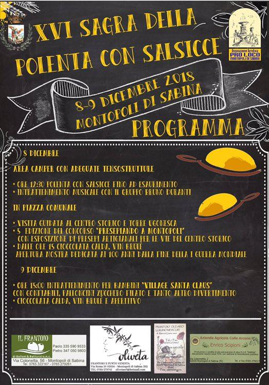programma della sagra della polenta Montopoli Sabina 2018