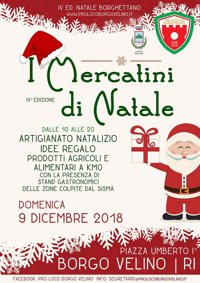 Mercatini di Natale Borgo Velino 2018
