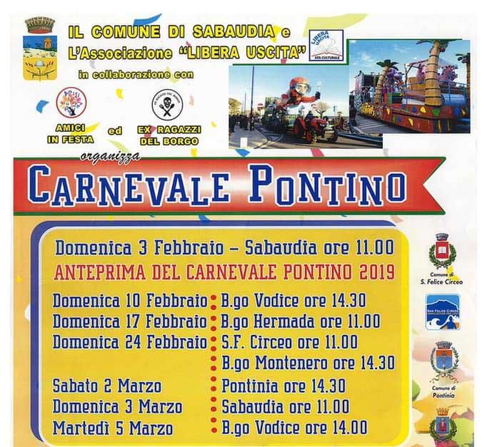 carnevale Sabaudia e San Felice Circeo 2019