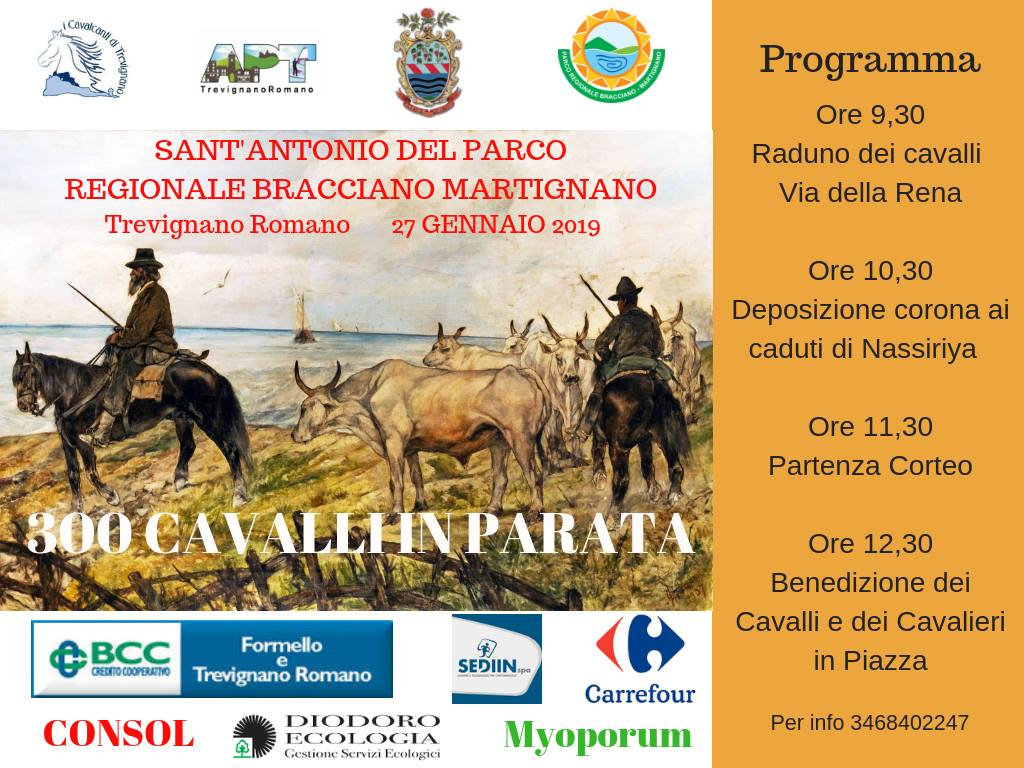 benedizione degli animali e dei cavalli a Trevignano Romano 2019