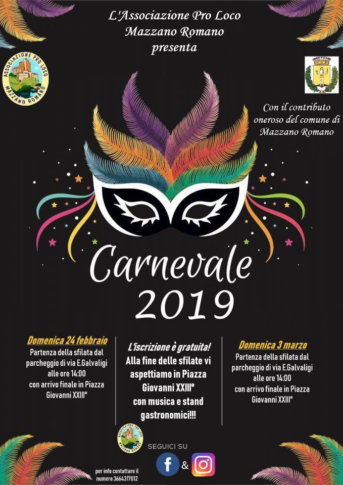 programma del carnevale di Mazzano Romano 2019