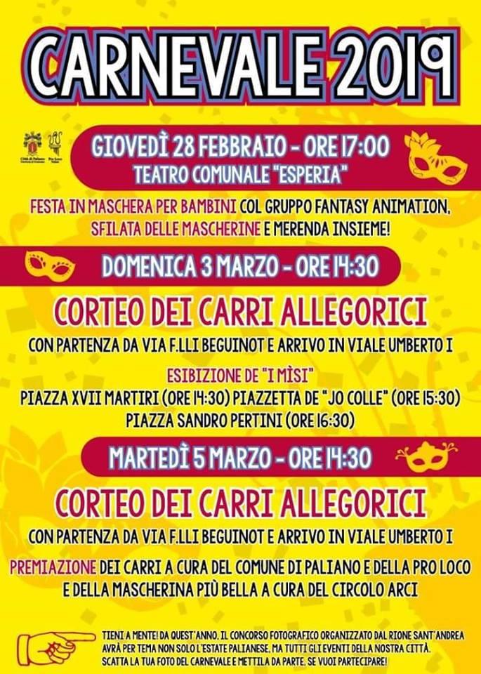 programma carnevale Paliano 2019