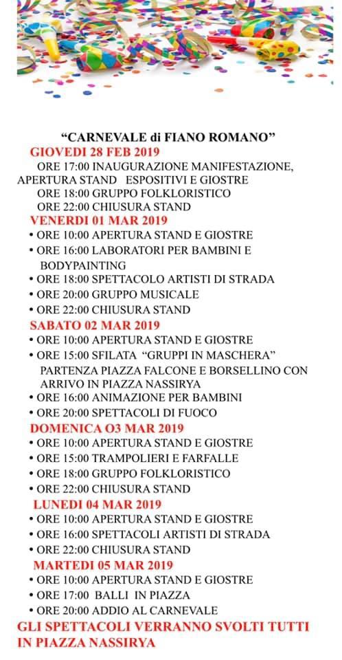 programma carnevale Fiano Romano 2019
