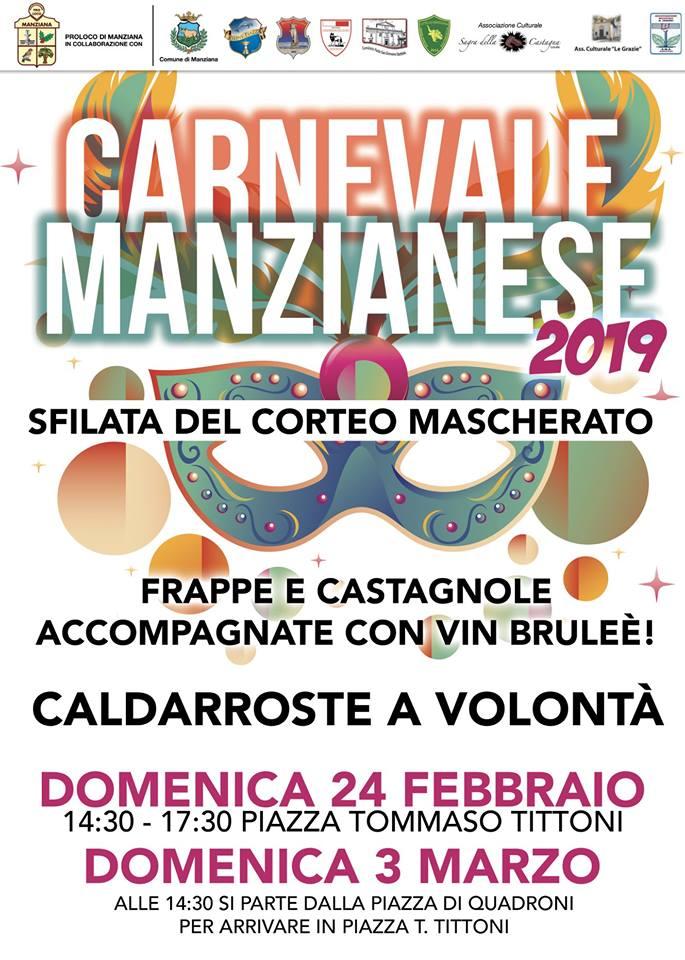 programma del carnevale di Manziana 2019