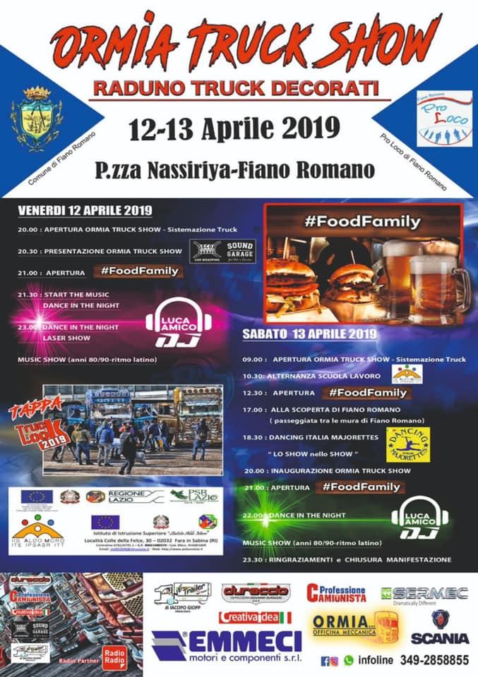 programma dell'Ormia Truck Show Fiano Romano 2019